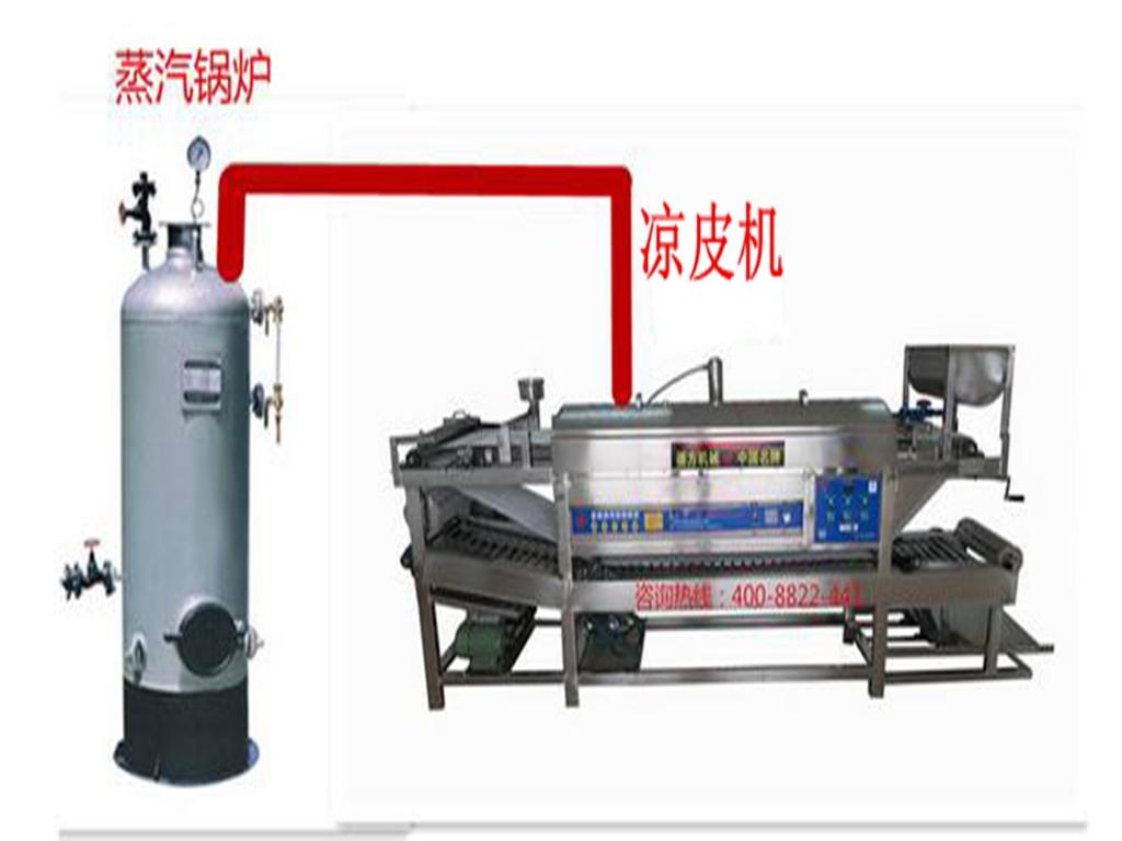 德方锅炉蒸汽凉皮机性能特点:  全机采用不锈钢制造.